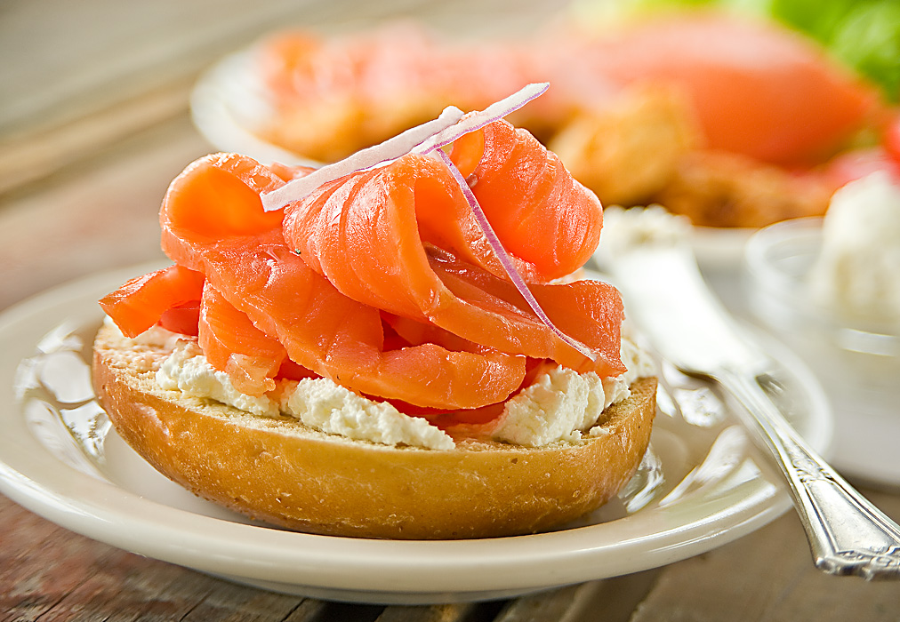 Smoked Salmon And Cream Cheese Bagels Recipe — Dishmaps