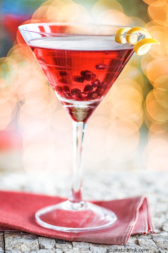 The merry little pomegranate martini. Cheers!