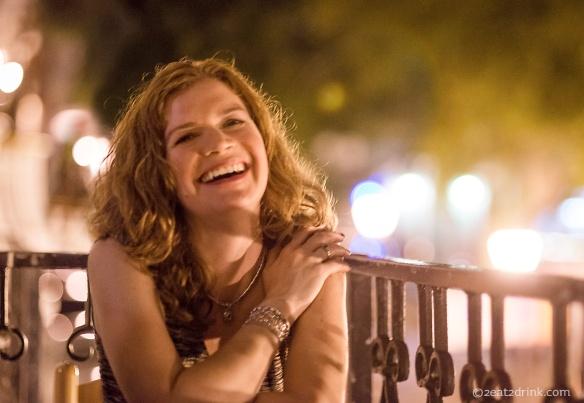 Heather at Café Puerto Rico, overlooking Plaza Colon.