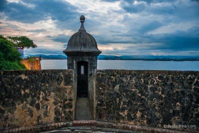 A garita at sunset overlooking Bahia de San Juan.