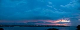 Bahia de San Juan at sunset. The Bacardi factory is across the bay.