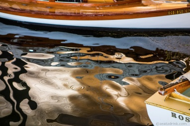 A reflection from the Antique Boat Museum in Clayton.