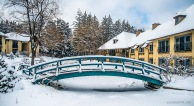 Snow covered Monet's bridge.