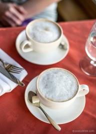 Hot cappuccinos.