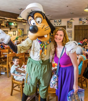 Goofy wouldn't leave until he got a hug from Heather.