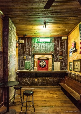The dart board in the Old Point Bar.